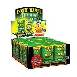 12 x Green Toxic Waste Candy Barrel Drums - Dangerously Sour Sweets 42g - Wholesale Pack
